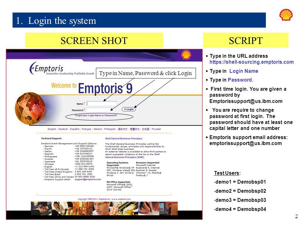 1. Login the system SCREEN SHOT SCRIPT