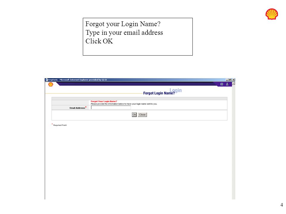 Forgot your Login Name Type in your email address Click OK