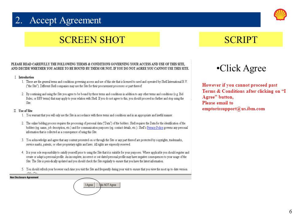 2. Accept Agreement SCREEN SHOT SCRIPT Click Agree