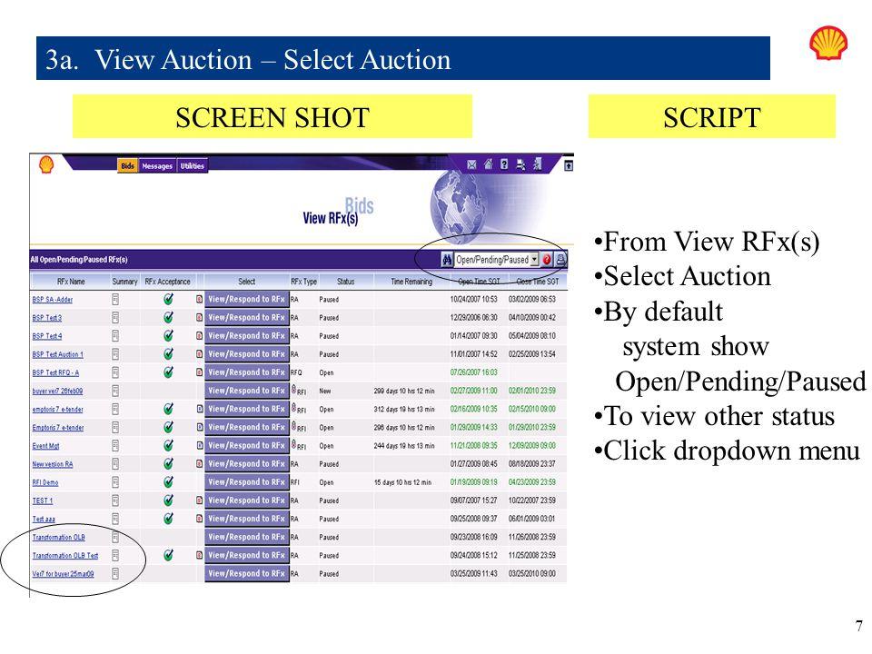 3a. View Auction – Select Auction