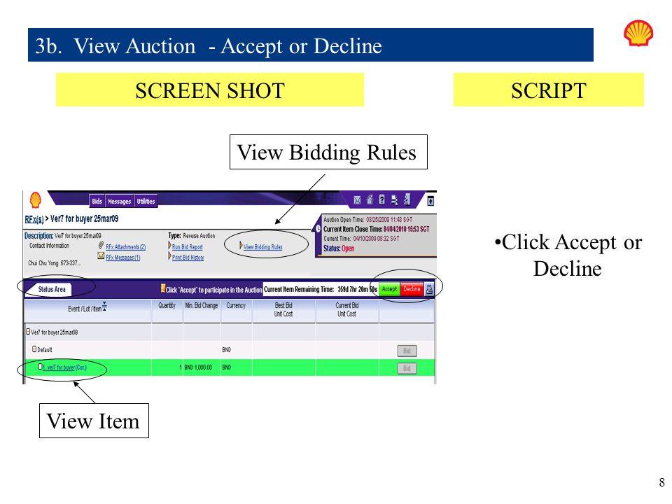 3b. View Auction - Accept or Decline