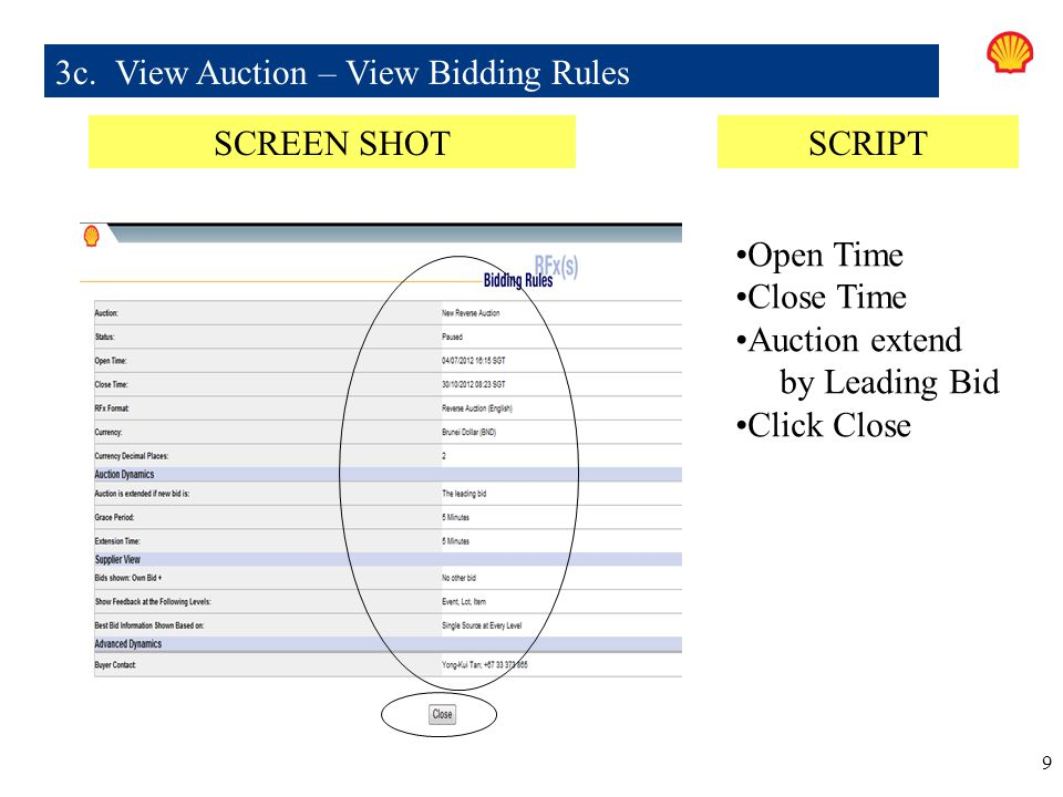 3c. View Auction – View Bidding Rules