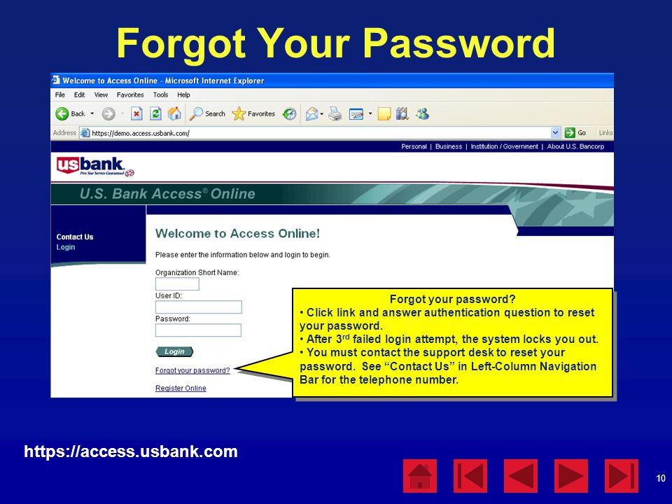 Forgot Your Password https://access.usbank.com Forgot your password