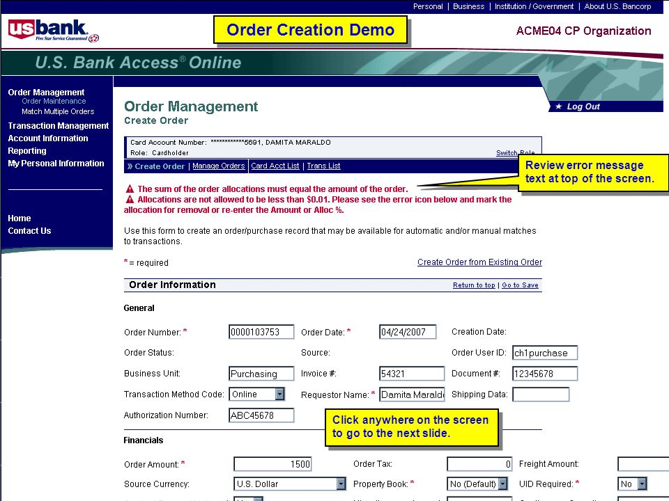 Order Creation Demo Review error message text at top of the screen.