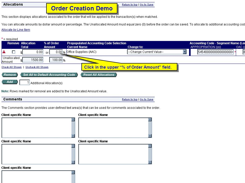Order Creation Demo Click in the upper % of Order Amount field.