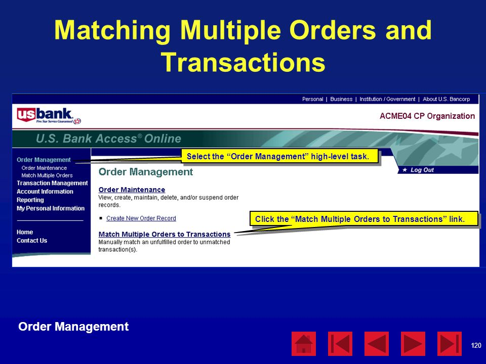 Matching Multiple Orders and Transactions