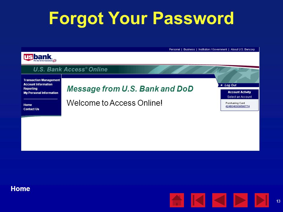 Forgot Your Password Message from U.S. Bank and DoD