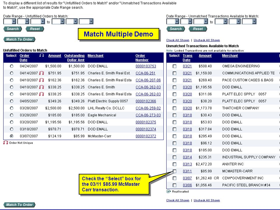 Match Multiple Demo Match Multiple Demo