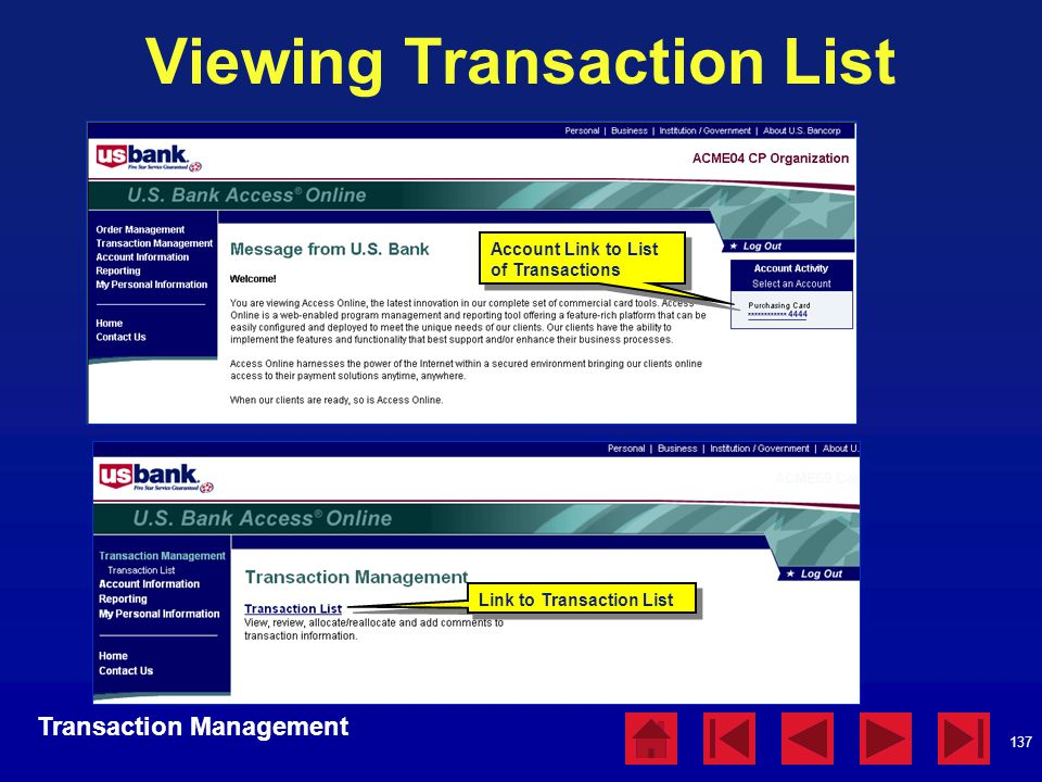 Viewing Transaction List