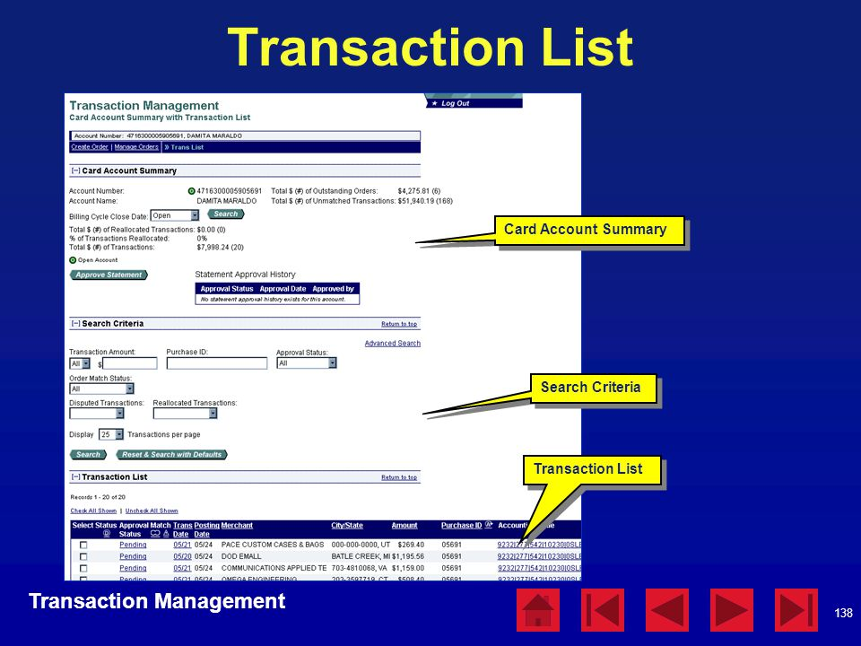 Transaction List Transaction Management Card Account Summary
