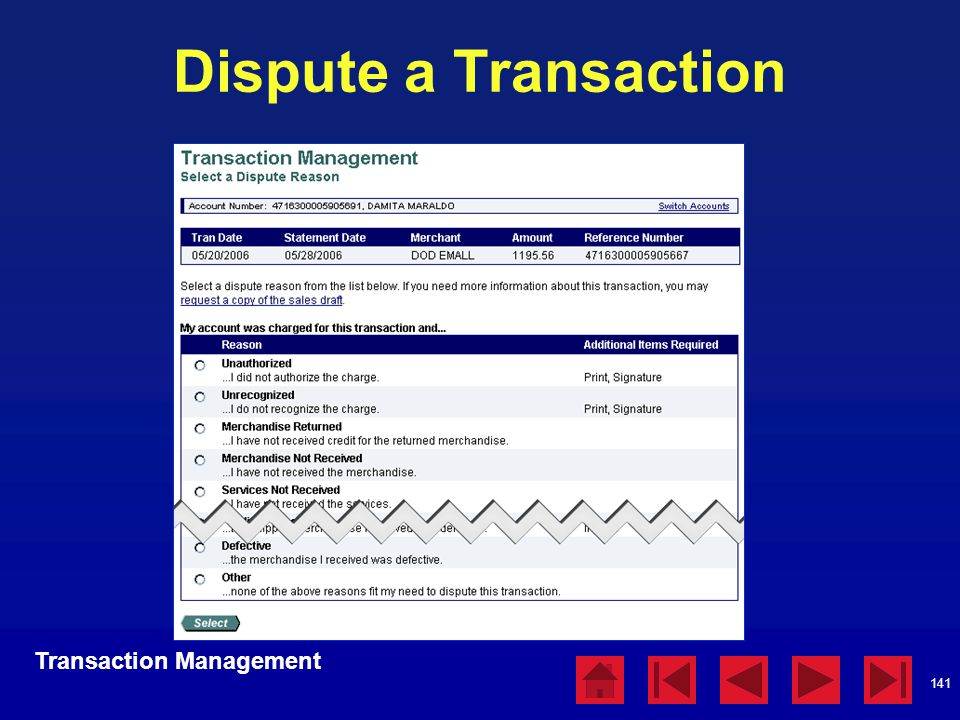 Dispute a Transaction Transaction Management Dispute a Transaction