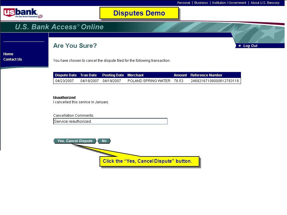 Disputes Demo Disputes Demo