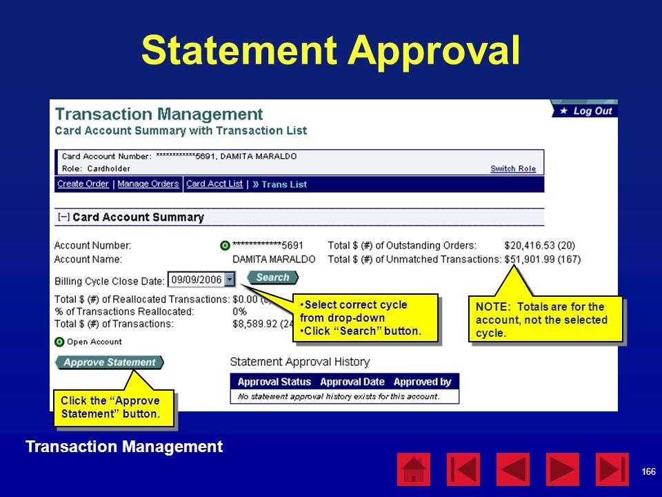 Statement Approval Transaction Management