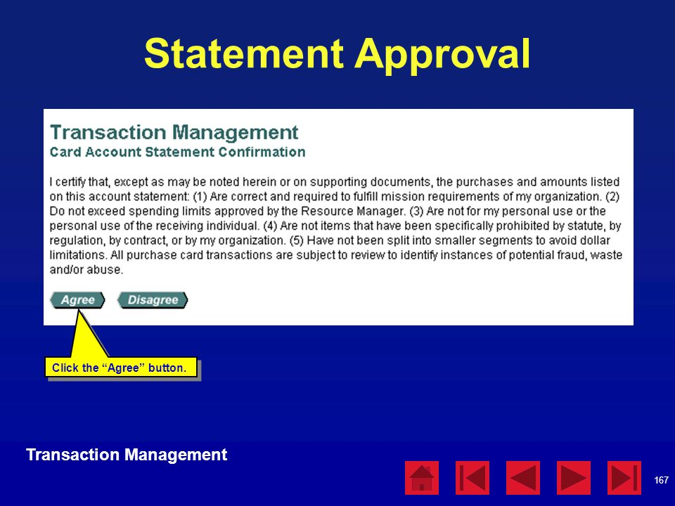 Statement Approval Transaction Management Statement Approval