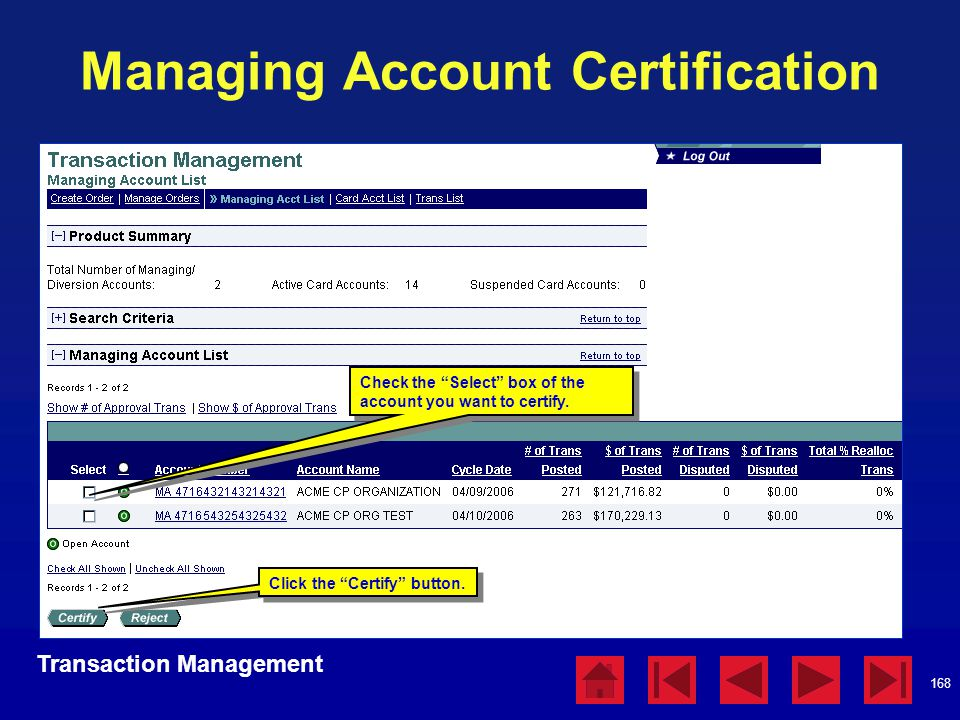 Managing Account Certification
