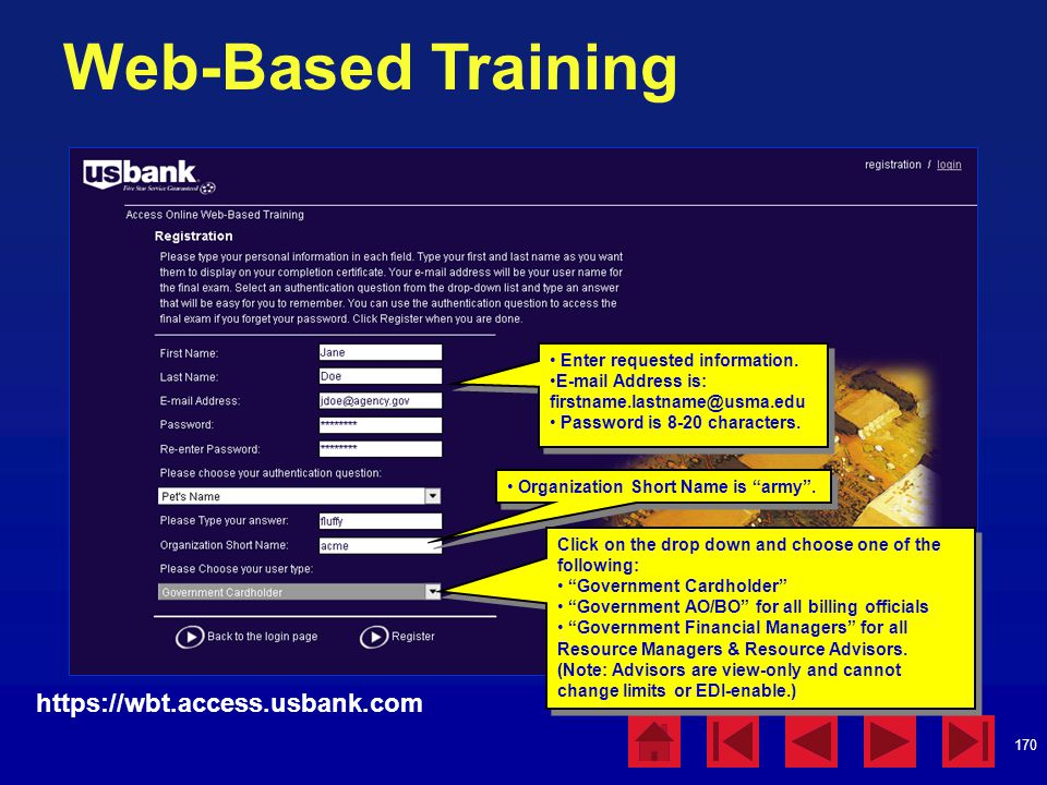 Web-Based Training https://wbt.access.usbank.com