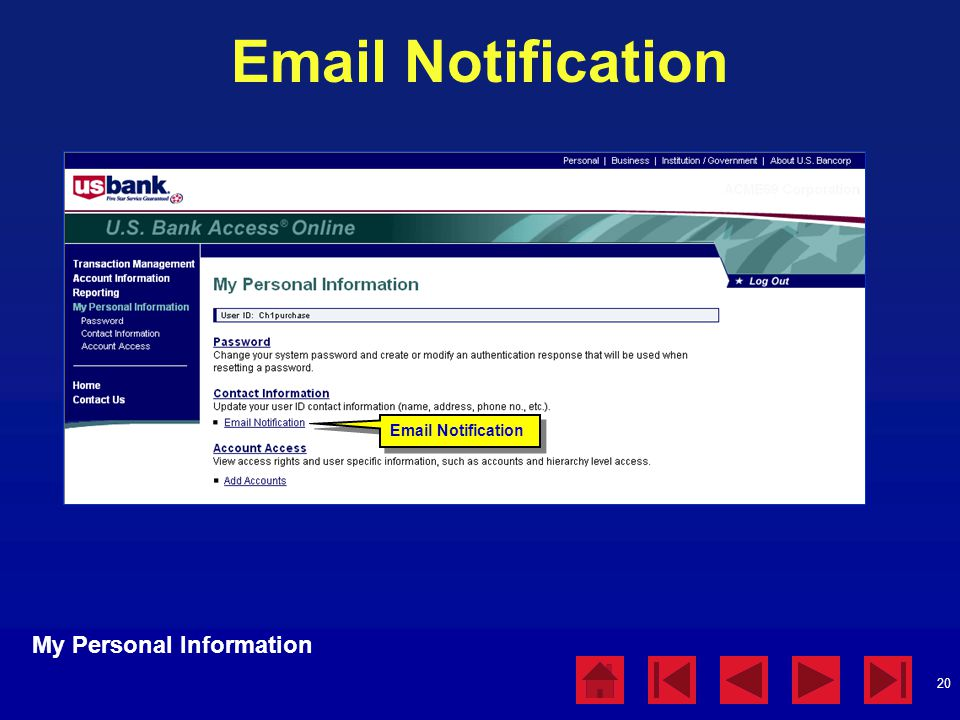 Email Notification My Personal Information Email Notification