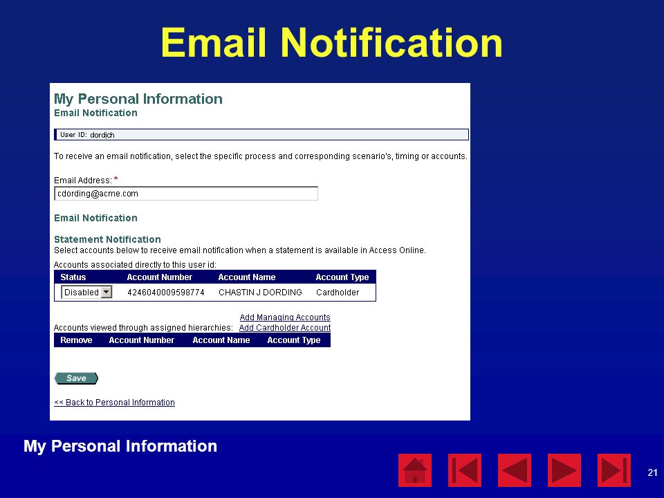 Email Notification My Personal Information