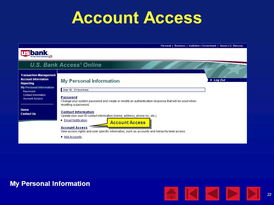 Account Access My Personal Information Account Access