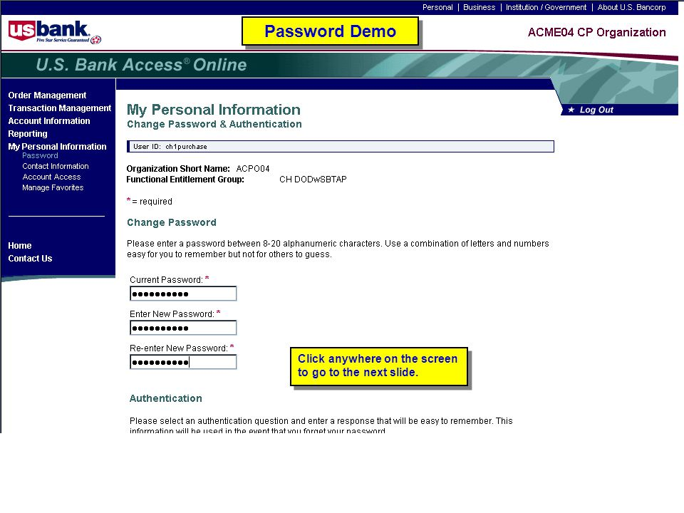 Password Demo Password Demo