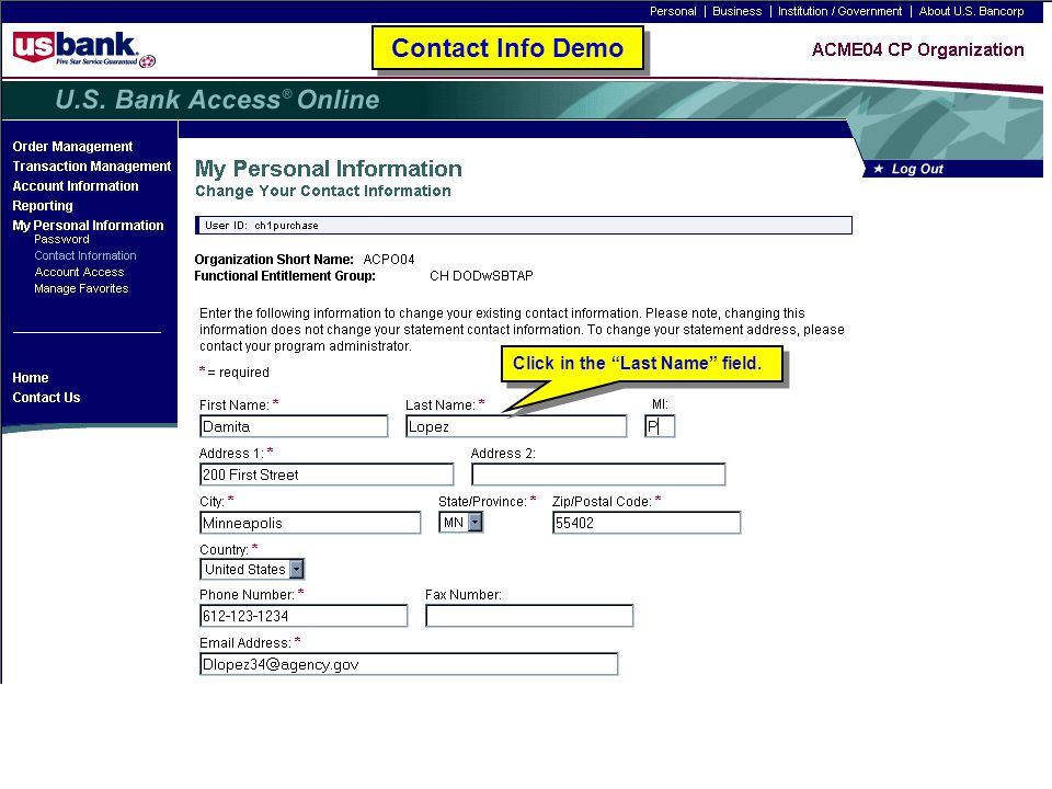 Contact Info Demo Click in the Last Name field. Contact Info Demo. Trainer: Click in the Last Name field.