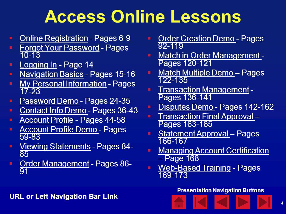 Presentation Navigation Buttons