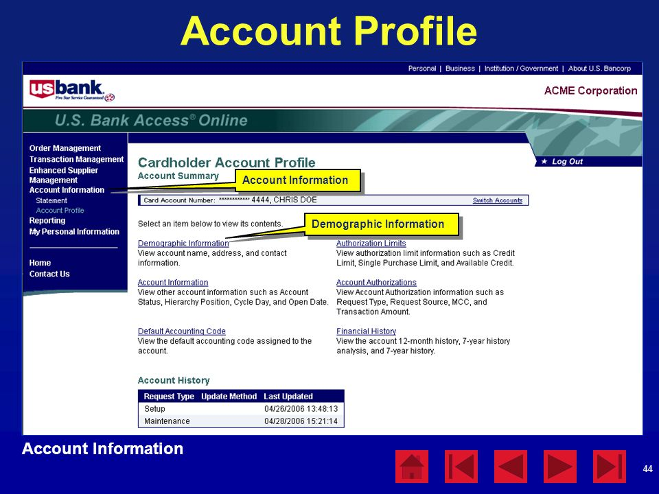 Account Profile Account Information Account Information