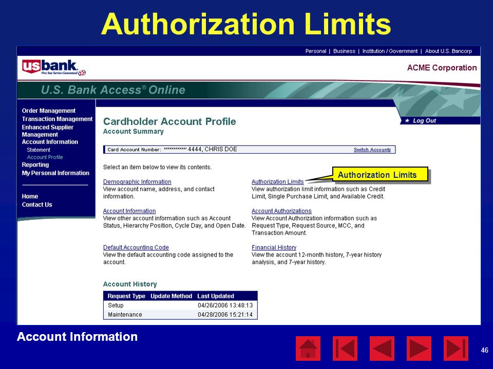 Authorization Limits Account Information Authorization Limits