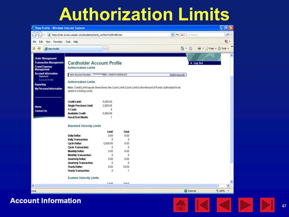 Authorization Limits Account Information