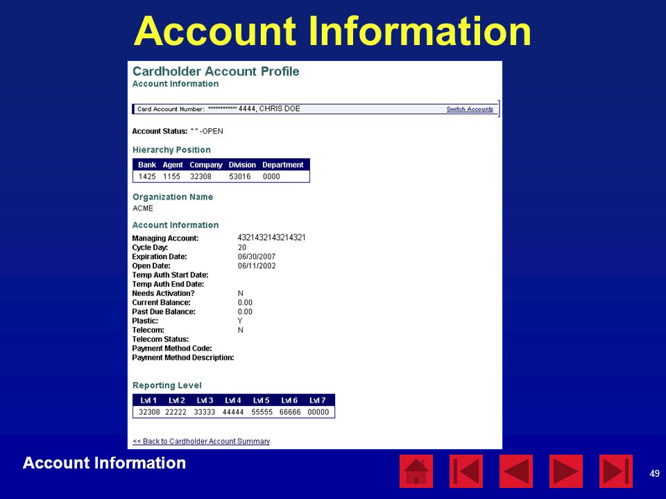 Account Information Account Information