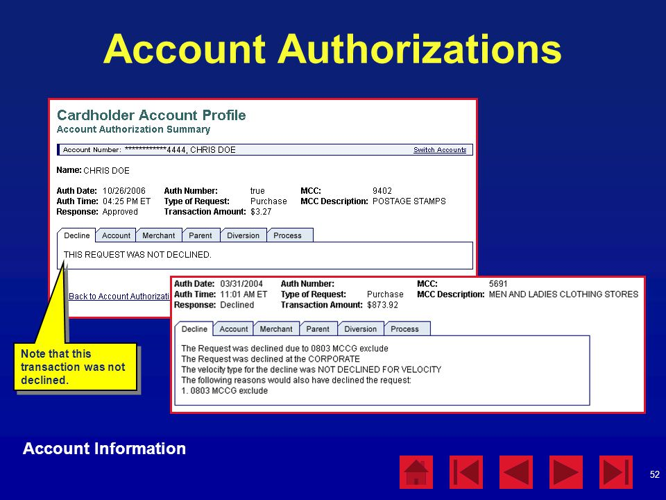 Account Authorizations