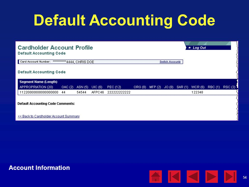 Default Accounting Code