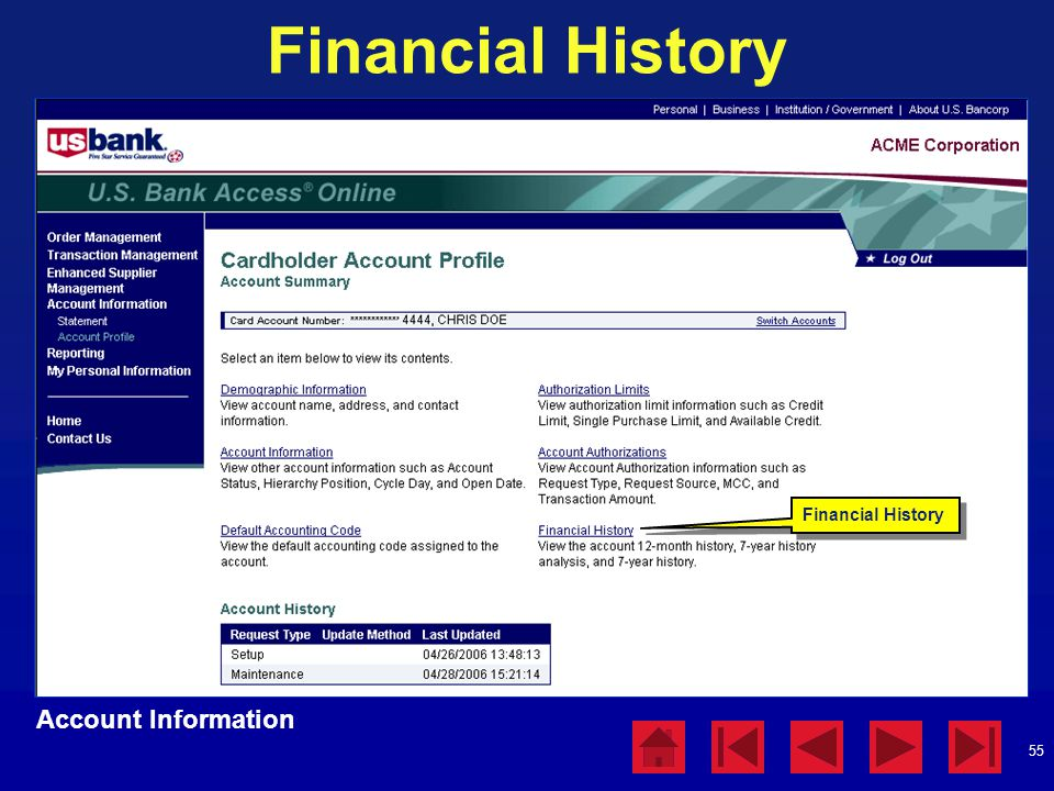 Financial History Account Information Financial History