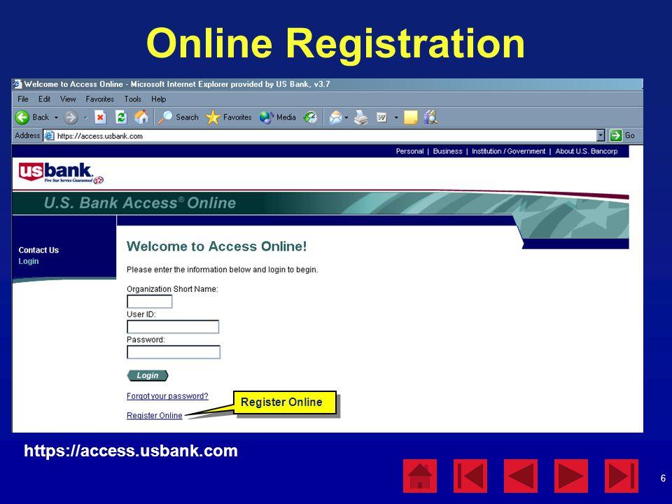 Online Registration https://access.usbank.com