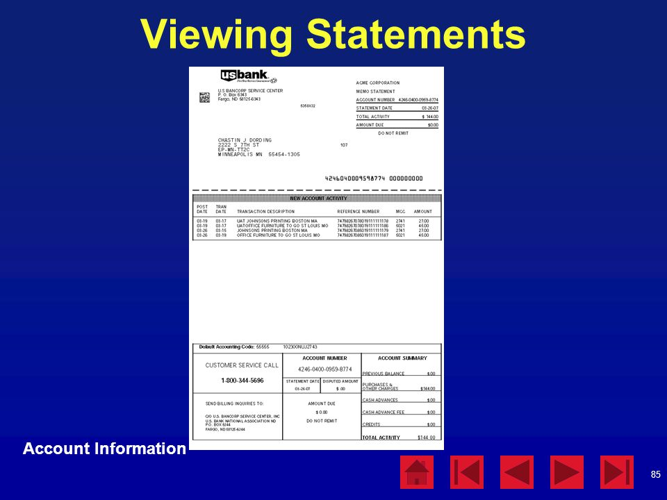Viewing Statements Account Information Viewing Statements