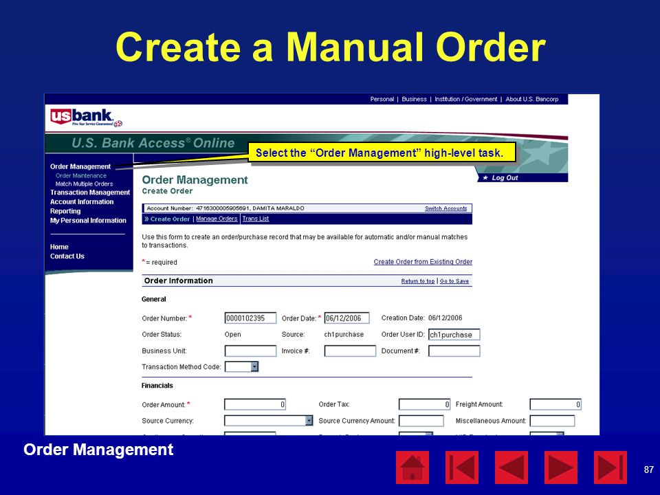 Create a Manual Order Order Management