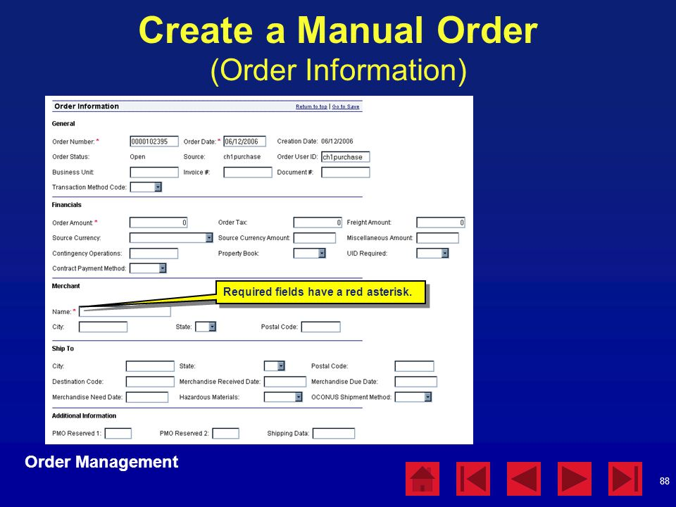 Create a Manual Order (Order Information)