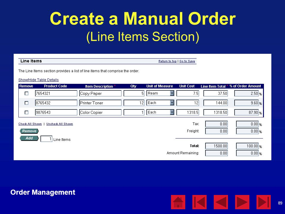 Create a Manual Order (Line Items Section)