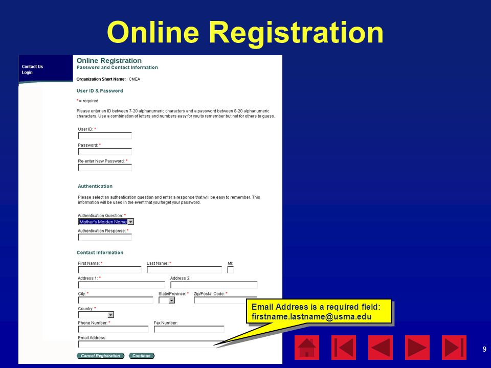 Online Registration Online Registration Instructions:
