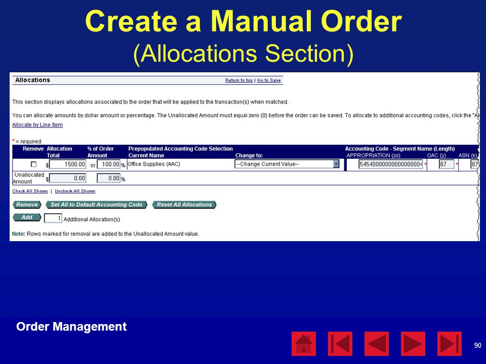 Create a Manual Order (Allocations Section)