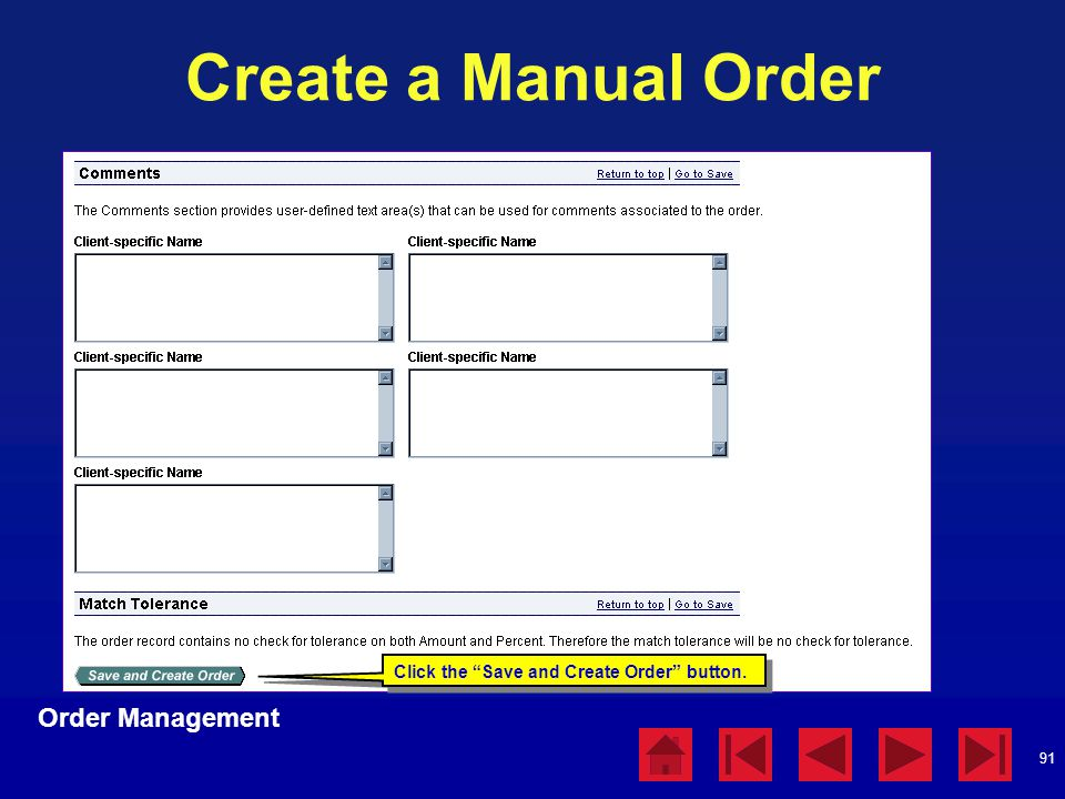 Create a Manual Order Order Management Order Management