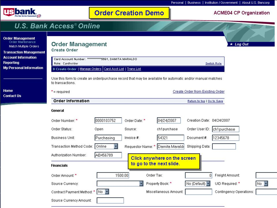 Order Creation Demo Order Creation Demo
