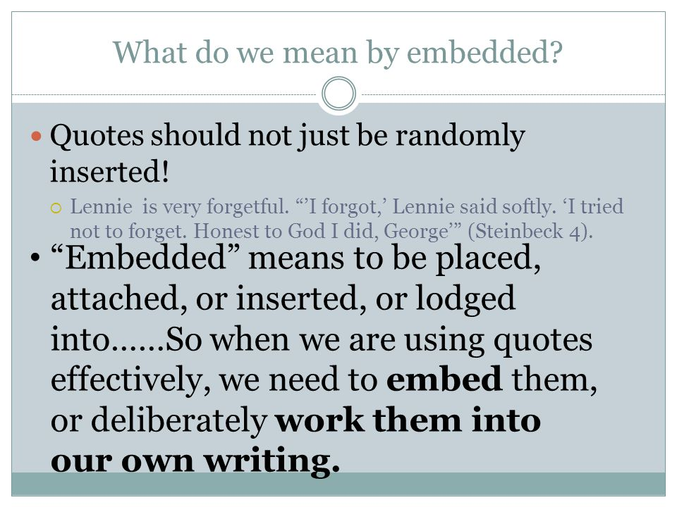 What do we mean by embedded