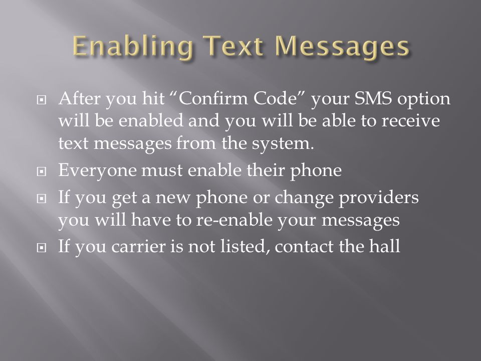 Enabling Text Messages