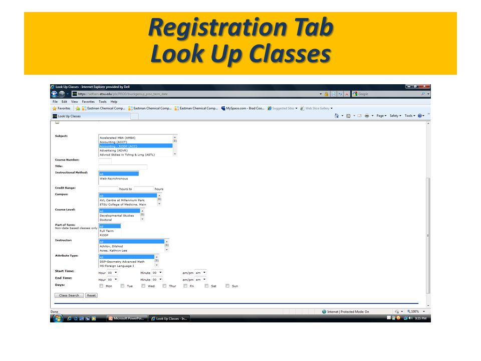 Registration Tab Look Up Classes What's in GoldLink