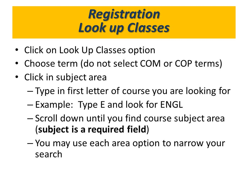 What's in GoldLink Registration Look up Classes
