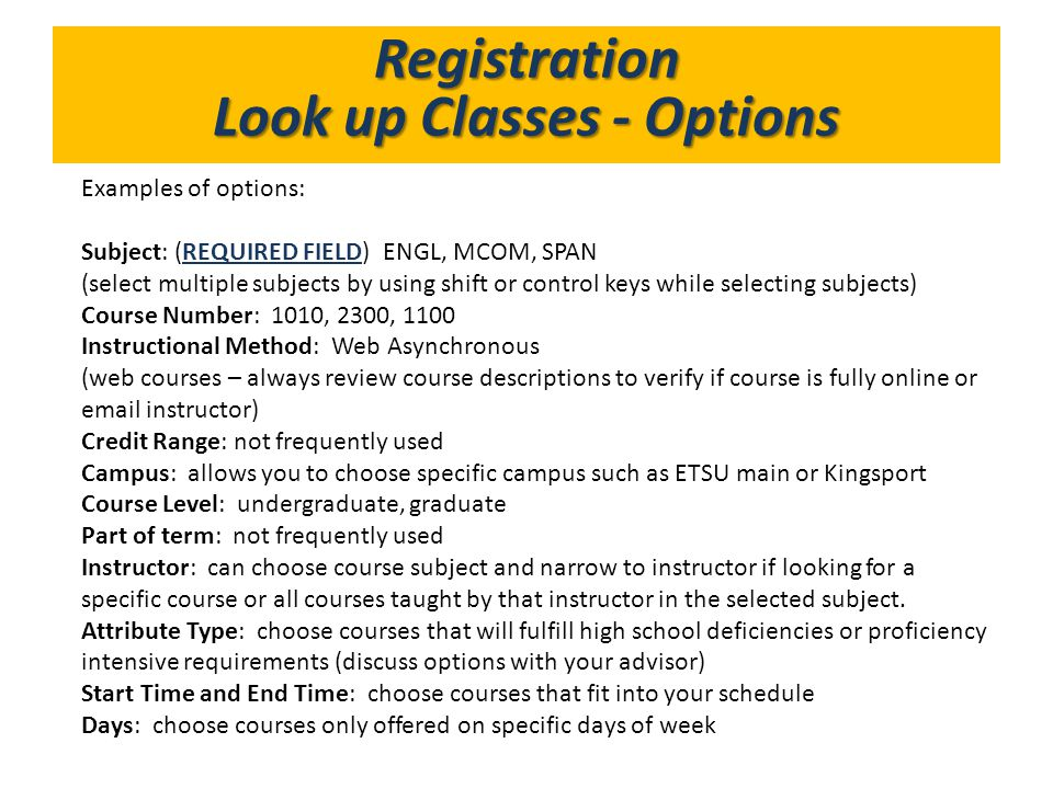 Look up Classes - Options