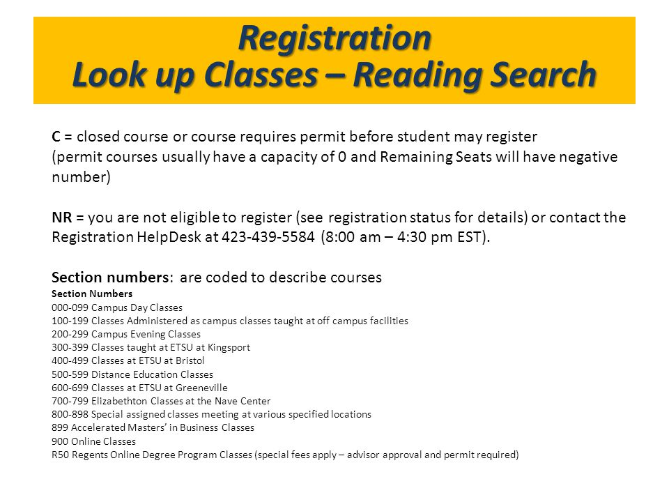 Look up Classes – Reading Search