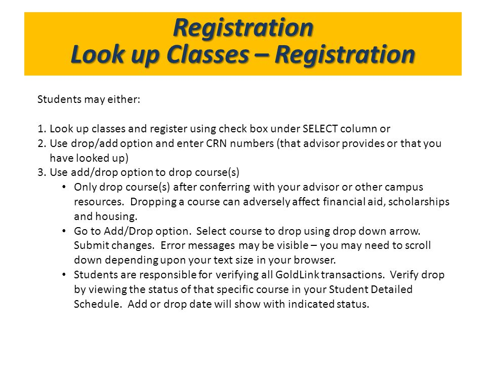 Look up Classes – Registration