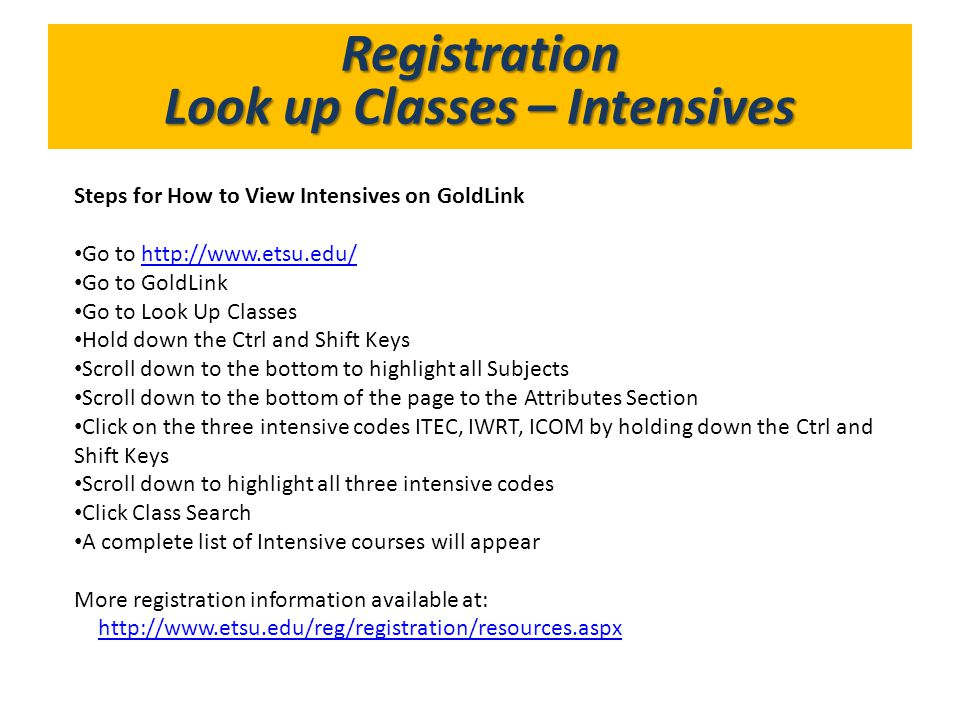 Look up Classes – Intensives